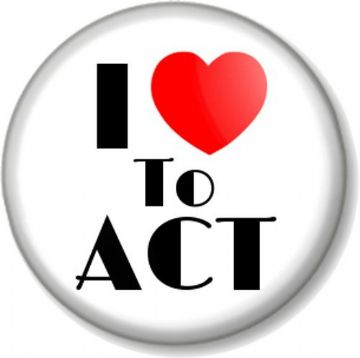 I Love / Heart TO ACT Pinback Button Badge The Arts Stage Acting Theatre Drama Rehearsals